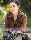 The Walking Dead Christian Serratos Brown Leather Jacket