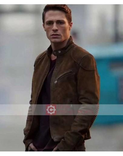 Arrow Season 3 Colton Haynes Roy Harper Suede Jacket