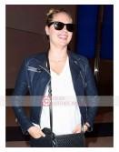 Kate Upton Blue Leather Jacket