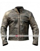 Mens Antique Black Retro Biker Distressed Leather Jacket
