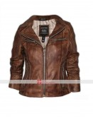 Aviatrix Women Brown Leather Jacket