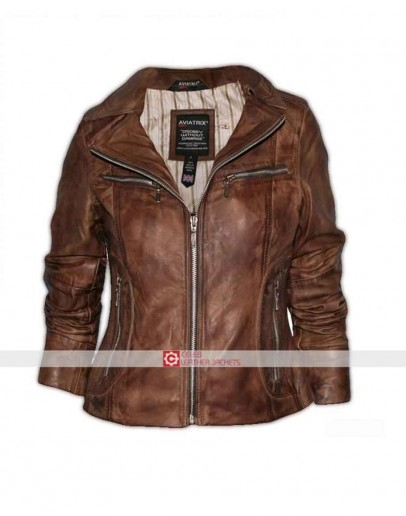 Aviatrix Women Brown Leather Jacket