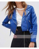Royal Blue Biker Faux Leather Jacket