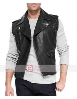 Men Black Biker Leather Vest