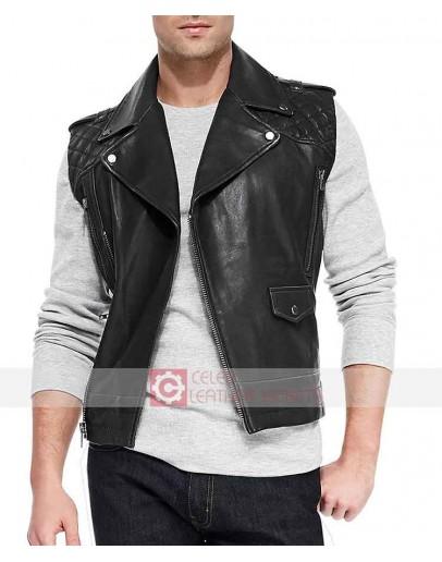 Men Black Biker Leather Vest