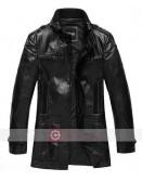 Men's Black Leather Pea Coat