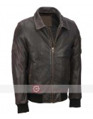 Mens Distressed Brown Leather Bomber Jacket