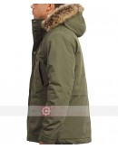 Men Olive Green Fur Hood Jacket