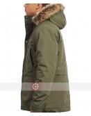 Men Olive Green Fur Hood Jacket