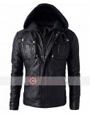 Men Slim-Fit Hooded Black Leather Jacket