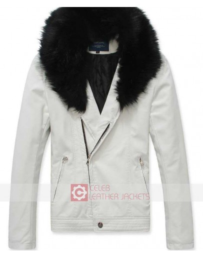 White Leather Jacket With Fur Collar