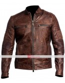Cafe Racer Brown Biker Motorcycle Vintage Jacket