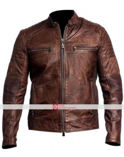 Cafe Racer Brown Biker Motorcycle Vintage Jacket