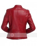 Red Moto Leather Jacket Women