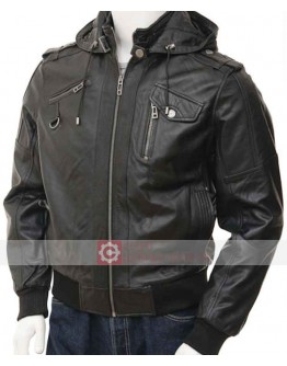 Slim Fit Bomber Leather Jacket With Hood