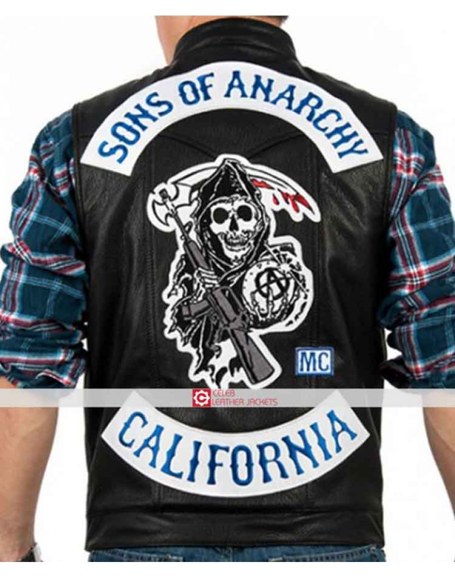 Sons of Anarchy Motercycle Biker Style Hi-Quality Faux Leather Vest with Patches Black