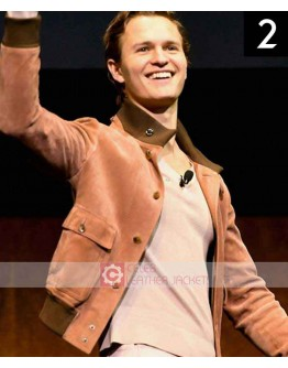 Ansel Elgort The Late Late Show Orange Jacket