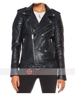 Womens Black Fashion Biker Leather Jacket