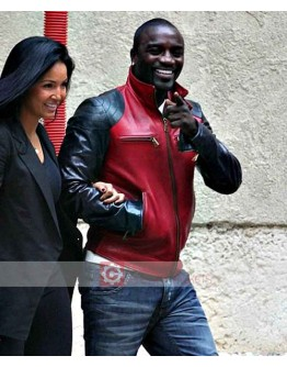 Akon Black And Red Leather Jacket