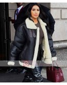 Kim Kardashian Shearling Leather Jacket