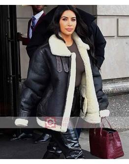 Kim Kardashian Shearling Leather Jacket