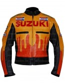 Suzuki Reposal Yellow And Orange Motorcycle Leather Jacket