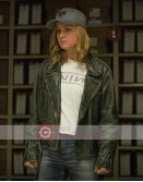 Captain Marvel Carol Danvers Distressed Leather Jacket