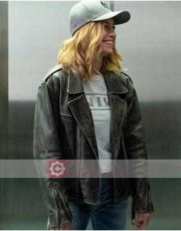 Captain Marvel Carol Danvers Distressed Leather Jacket