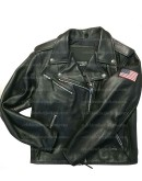 American Flag Women Biker Leather Jacket