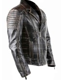 Brando Style Vintage Distressed Motorcycle Black Leather Jacket