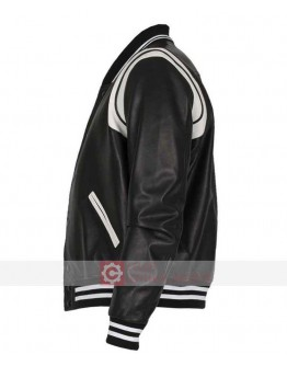 Black And White Letterman Bomber Leather Jacket