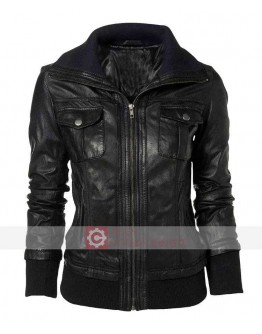 Slim Fit Double Collar Bomber Leather Jacket
