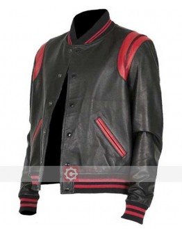 Black And Red Letterman Bomber Leather Jacket