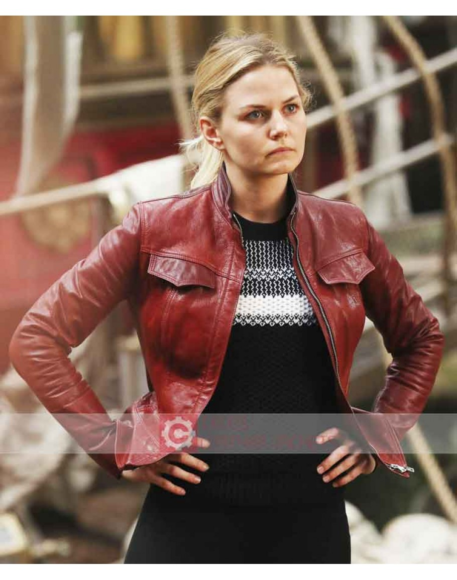 "/""ONCE UPON A TIME/"" Jennifer Morrison /""Emma Swan/"" Ladies Red Leather Jacket"