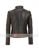 Women Rivet Star Brown Leather Jacket