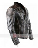 Brando Style Vintage Distressed Motorcycle Black Leather Jacket