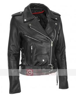 Women Heavy Cowhide Motorbikers Leather Jacket