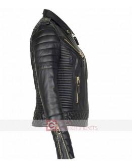 Women Slim Fit Lambskin Golden Zipper Quilted Leather Jacket