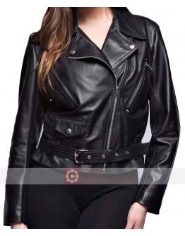 Women Soft Lambskin Motorcycle Black Leather Jacket