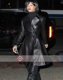 Singer Rihanna Black Leather Frock Coat