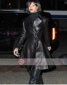 Singer Rihanna Black Leather Frock Coat