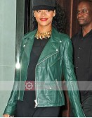 Singer Rihanna Green Biker Leather Jacket