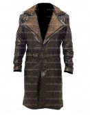 WW2 German Belted Brown Shearling Leather Coat