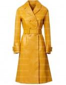 Women Yellow Trench Leather Coat