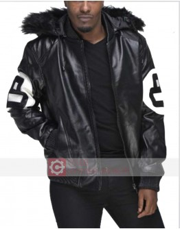 8 Ball Black & White Bomber Leather Jacket