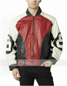 8 Ball Red & White Bomber Leather Jacket