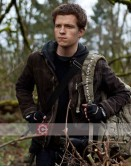 Chaos Walking Movie Todd (Tom Holland) Brown Leather Jacket