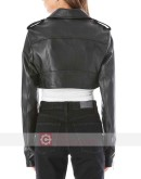 218W Perfecto Cropped Black Leather Jacket
