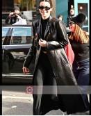 Model Kendall Jenner Black Trench Coat