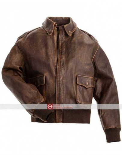Aviator A2 Flight Distressed Brown Leather Jacket